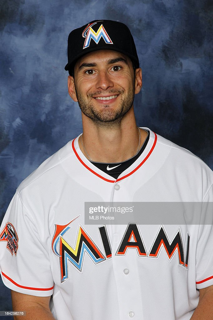 Justin Ruggiano # 20 of the Florida Marlins poses for a headshot at Marlins Park in March, 2013 in Miami, Florida.