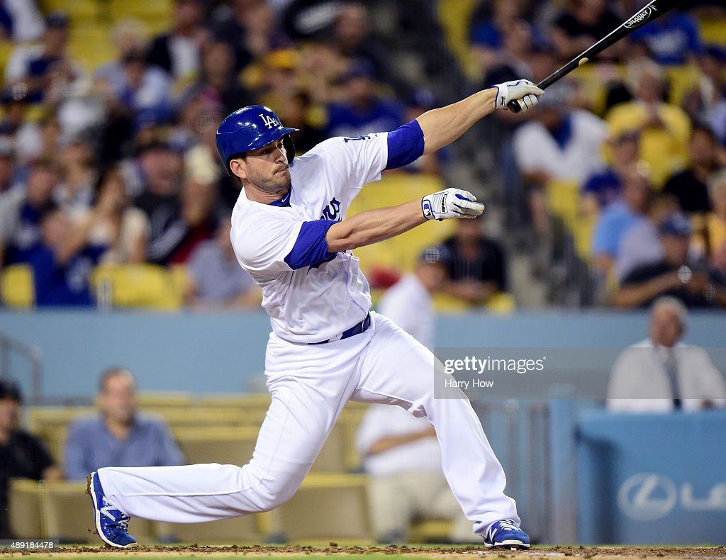 Justin Ruggiano #27 of the Los Angeles Dodgers takes a swing during the game against the Colorado Rockies at Dodger Stadium on September 15, 2015 in Los Angeles, California.