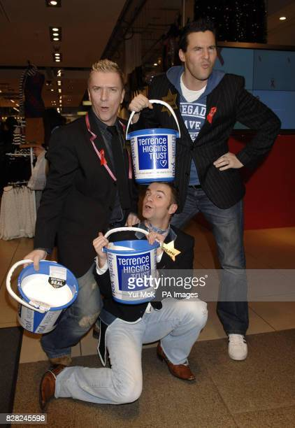 Justin Ryan Julian Bennett and Colin McAllister at a Celebrity Shopping Evening held at Topshop in Oxford Circus central London in aid of the...