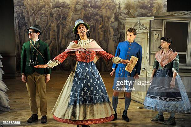 Justin Salinger as Johann the father Amit Shah as Marta the stepmother Dylan Kennedy as Hansel and Ruby Bentall as Gretel in Lucy Kirkwood's Hansel...