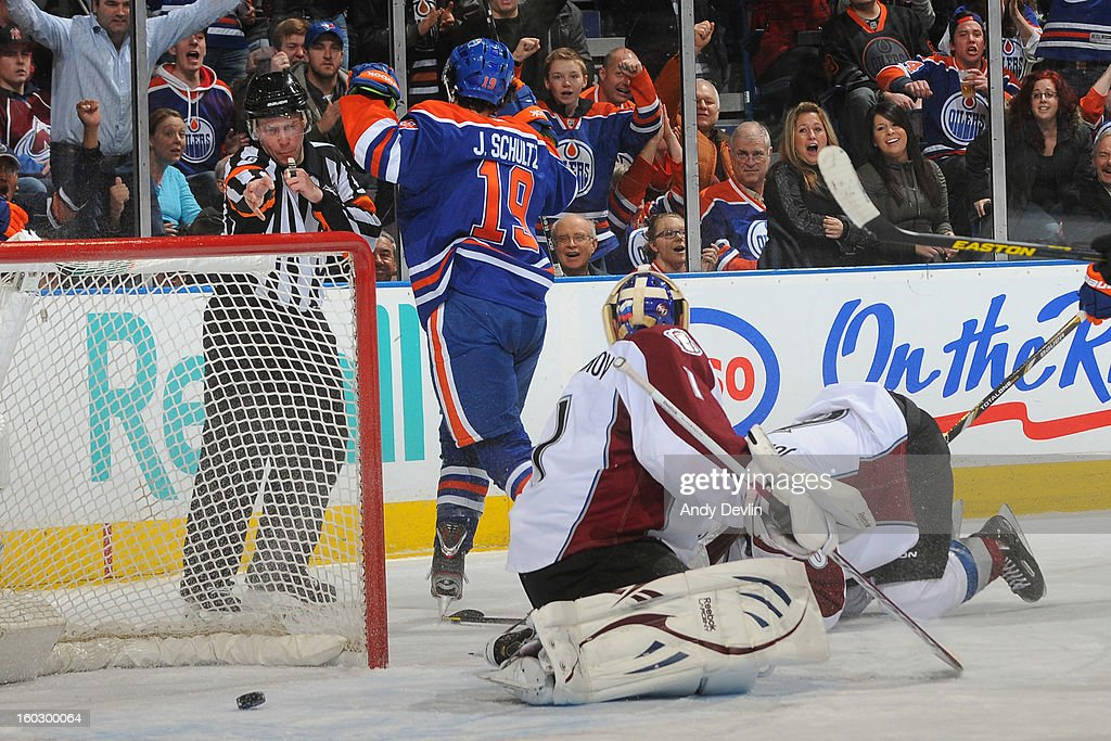 Justin Schultz #19 of the Edmonton Oilers celebrates after a goal in a game against the Colorado Avalanche at Rexall Place on January 28, 2013 in Edmonton, Alberta, Canada.