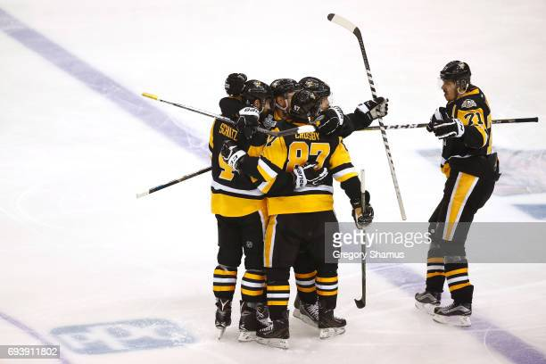 Justin Schultz of the Pittsburgh Penguins celebrates after scoring a goal in the first period against the Nashville Predators in Game Five of the...