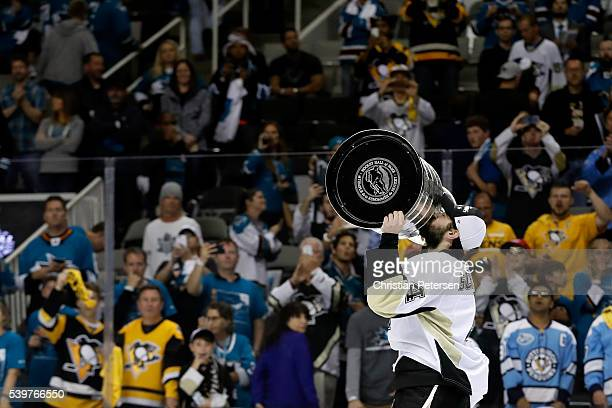 Justin Schultz of the Pittsburgh Penguins celebrates with the Stanley Cup after their 31 victory to win the Stanley Cup against the San Jose Sharks...
