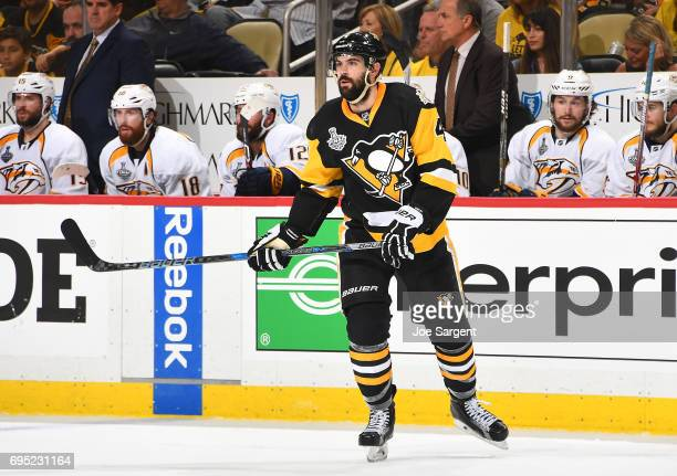 Justin Schultz of the Pittsburgh Penguins skates against the Nashville Predators in Game Five of the 2017 NHL Stanley Cup Final at PPG Paints Arena...