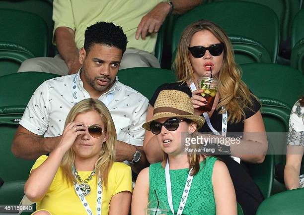 Justin Scott and Kimberley Walsh attends the Martin Klizan v Rafael Nadal match on centre court during day two of the Wimbledon Championships at...