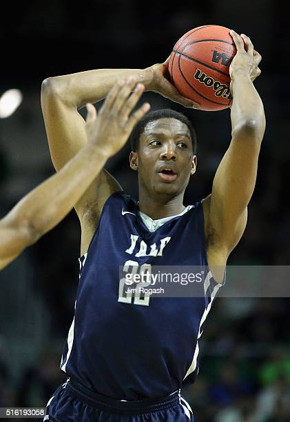 Justin Sears of the Yale Bulldogs looks to pass in the first half against the Baylor Bears during the first round of the 2016 NCAA Men's Basketball...