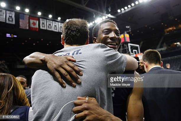 Justin Sears of the Yale Bulldogs reacts after defeating the Baylor Bears 7975 during the first round of the 2016 NCAA Men's Basketball Tournament at...