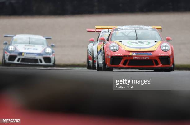 Justin Sherwood of Team Parker Racing drives in the Porsche Carrera Cup at Donington Park on April 29 2018 in Castle Donington England