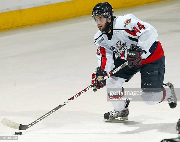 Justin Shugg of the Windsor Spitfires skates with the puck in Game Two of the Western Conference Championship against the London Knights on April 17...