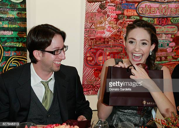 Justin Siegal and actress Emmy Rossum attend a dinner hosted by Vogue and Mulberry celebrating the work of Alexandra Grant on display at the 'Some...