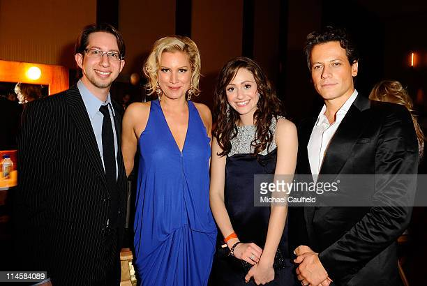 Justin Siegel actress Alice Evans actress Emmy Rossum and actor Ioan Gruffudd backstage at the 15th Annual Race to Erase MS at the Hyatt Regency on...