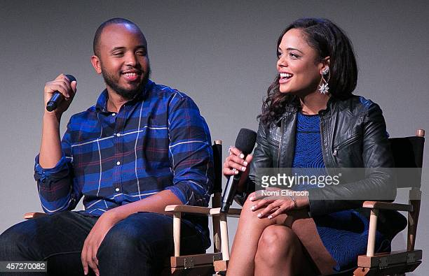 Justin Simien and Tessa Thompson attend Apple Store Soho Presents Meet the Filmmakers Justin Simien And Tessa Thompson Dear White People at Apple...
