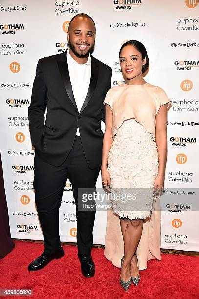 Justin Simien and Tessa Thompson attend IFP's 24th Gotham Independent Film Awards at Cipriani Wall Street on December 1 2014 in New York City