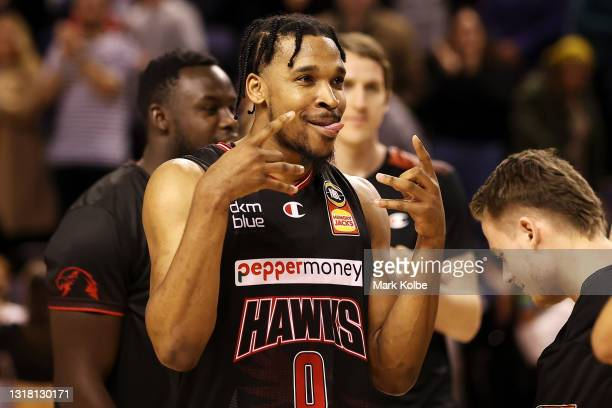 Justin Simon of the Hawks celebrates victory during the round 18 NBL match between Illawarra Hawks and New Zealand Breakers at WIN Entertainment...