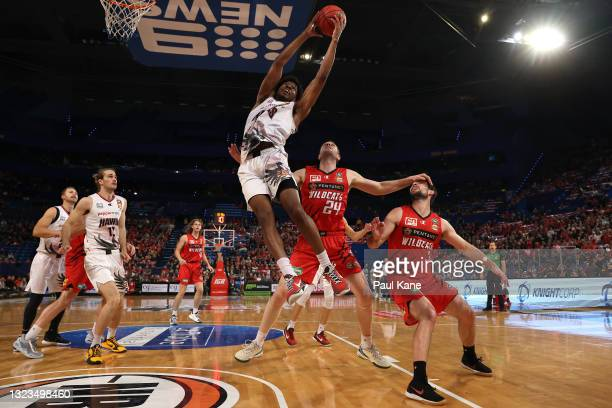 Justin Simon of the Hawks rebounds during game three of the NBL Semi-Final Series between the Perth Wildcats and the Illawarra Hawks at RAC Arena, on...