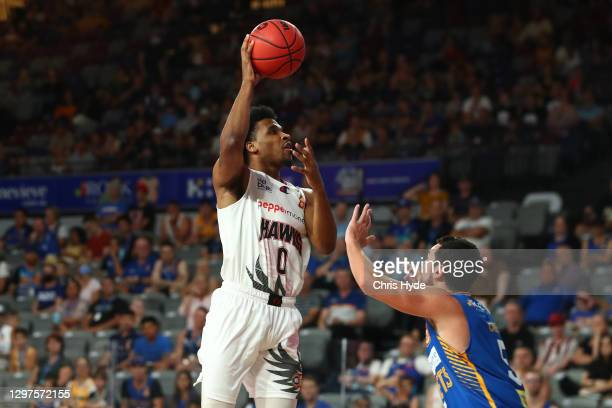 Justin Simon of the Hawks shoots during the round two NBL match between the Brisbane Bullets and the Illawarra Hawks at Nissan Arena, on January 21...