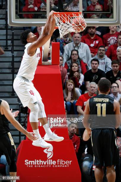 Justin Smith of the Indiana Hoosiers dunks against the Purdue Boilermakers in the second half of a game at Assembly Hall on January 28 2018 in...