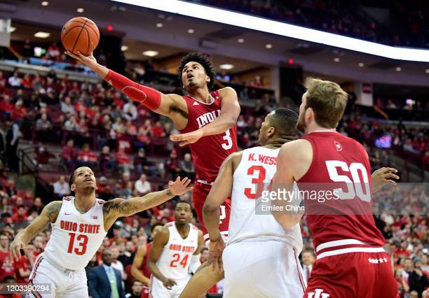 Justin Smith of the Indiana Hoosiers goes in for a layup during the first half of their game against the Ohio State Buckeyes at Value City Arena on...