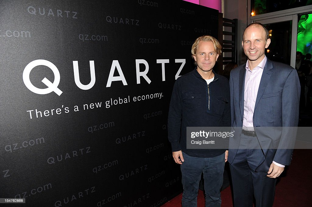 Justin Smith, President of the Atlantic Media Company and Kevin Delaney, Editor-in-chief of Quartz, attend the Media Company Launch Party For Quartz on October 25, 2012 in New York City. (Photo by Craig Barritt/Getty Images for Quartz (qz.com))