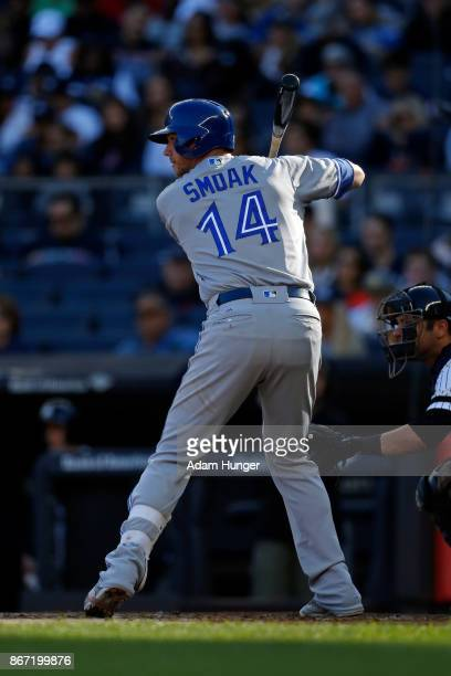 Justin Smoak of the Toronto Blue Jays at bat against the New York Yankees during the fourth inning at Yankee Stadium on October 1 2017 in the Bronx...
