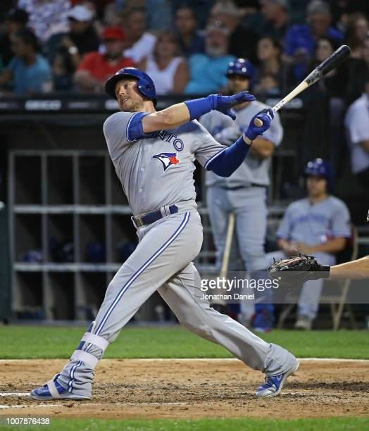 Justin Smoak of the Toronto Blue Jays bats against the Chicago White Sox at Guaranteed Rate Field on July 28 2018 in Chicago Illinois The White Sox...
