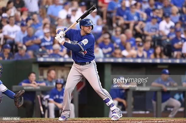 Justin Smoak of the Toronto Blue Jays bats against the Kansas City Royals on August 6 2016 at Kauffman Stadium in Kansas City Missouri The Kansas...