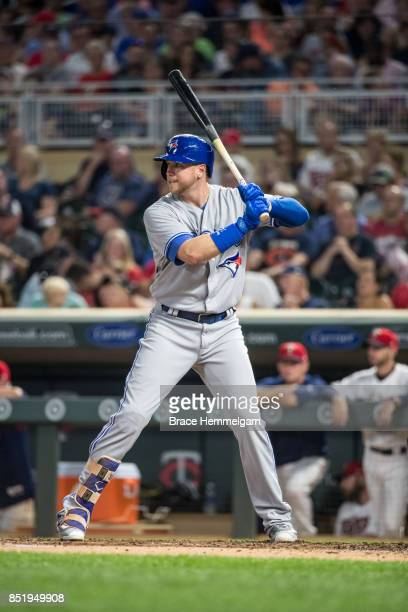 Justin Smoak of the Toronto Blue Jays bats against the Minnesota Twins on September 14 2017 at Target Field in Minneapolis Minnesota The Twins...