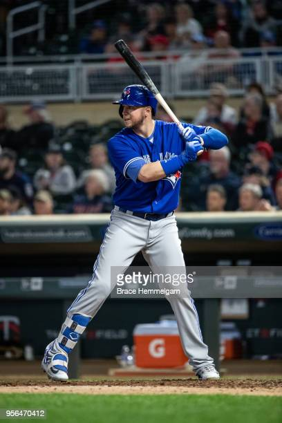 Justin Smoak of the Toronto Blue Jays bats against the Minnesota Twins on May 1 2018 at Target Field in Minneapolis Minnesota The Blue Jays defeated...