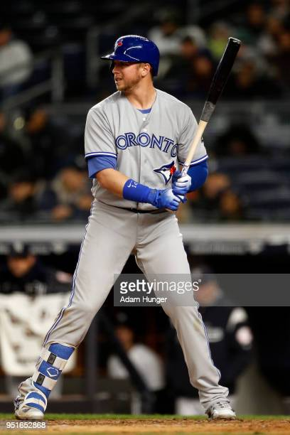 Justin Smoak of the Toronto Blue Jays bats against the New York Yankees during the fifth inning at Yankee Stadium on April 19 2018 in the Bronx...