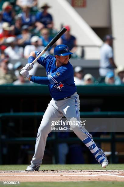 Justin Smoak of the Toronto Blue Jays bats during the the Spring Training game against the Detroit Tigers at Joker Marchant Stadium on March 7 2018...