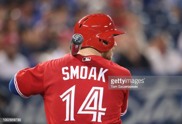 Justin Smoak of the Toronto Blue Jays bats in the sixth inning during MLB game action against the Detroit Tigers at Rogers Centre on July 1 2018 in...