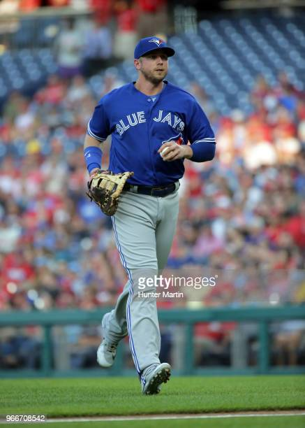 Justin Smoak of the Toronto Blue Jays during a game against the Philadelphia Phillies at Citizens Bank Park on May 25 2018 in Philadelphia...