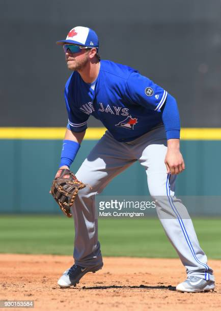 Justin Smoak of the Toronto Blue Jays fields during the Spring Training game against the Detroit Tigers at Publix Field at Joker Marchant Stadium on...