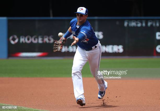 Justin Smoak of the Toronto Blue Jays flips the ball to the pitcher covering first base to get the baserunner in the first inning during MLB game...