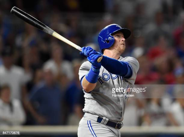 Justin Smoak of the Toronto Blue Jays hits a solo home run against the Minnesota Twins during the ninth inning of the game on September 14 2017 at...