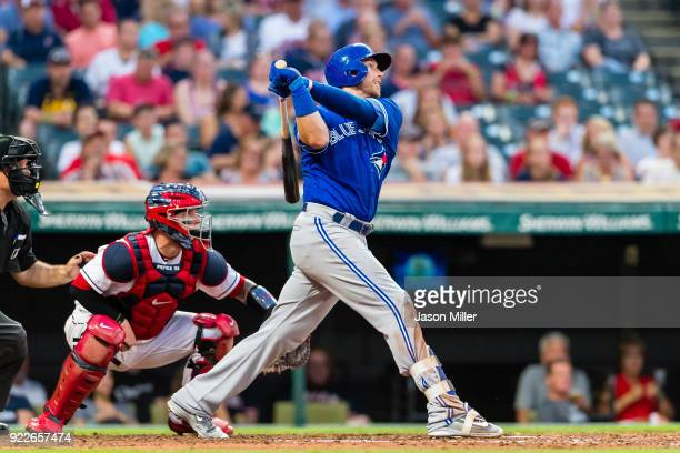 Justin Smoak of the Toronto Blue Jays hits an RBI double during the fifth inning against the Cleveland Indians at Progressive Field on July 21 2017...