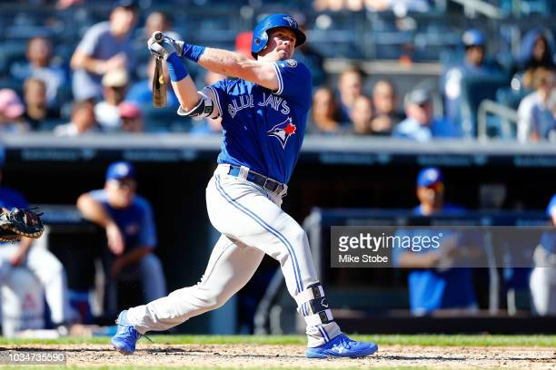 Justin Smoak of the Toronto Blue Jays in action against the New York Yankees at Yankee Stadium on September 16 2018 in the Bronx borough of New York...