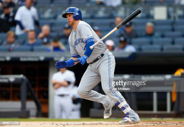 Justin Smoak of the Toronto Blue Jays in action against the New York Yankees at Yankee Stadium on September 30 2017 in the Bronx borough of New York...
