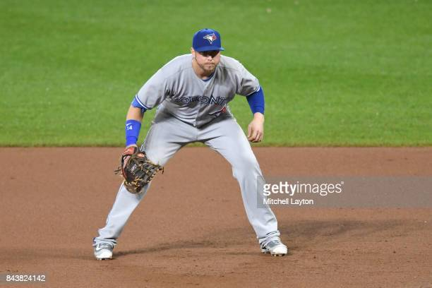 Justin Smoak of the Toronto Blue Jays in position during a baseball game against the Baltimore Orioles at Oriole Park at Camden Yards on September 2...