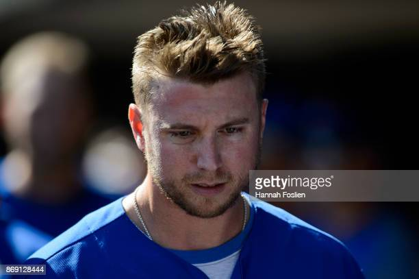 Justin Smoak of the Toronto Blue Jays looks on during the game against the Minnesota Twins on September 17 2017 at Target Field in Minneapolis...