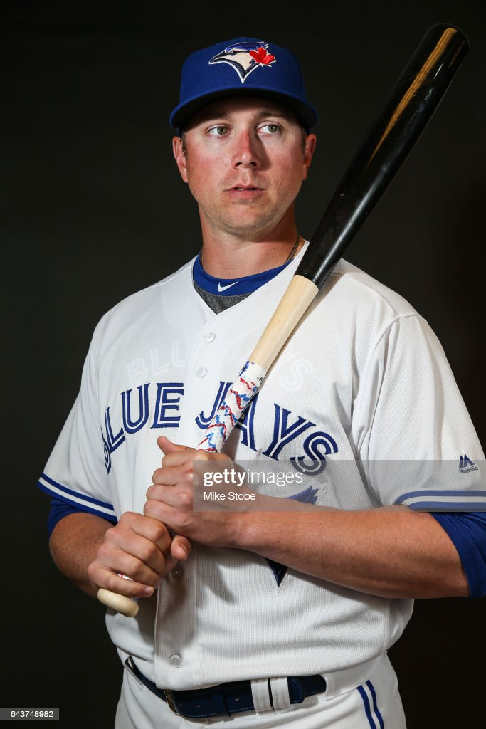 Justin Smoak #14 of the Toronto Blue Jays poses for a portait during a MLB photo day at Florida Auto Exchange Stadium on February 21, 2017 in Sarasota, Florida.