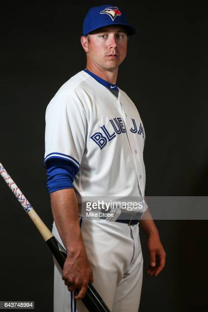 Justin Smoak of the Toronto Blue Jays poses for a portait during a MLB photo day at Florida Auto Exchange Stadium on February 21 2017 in Sarasota...