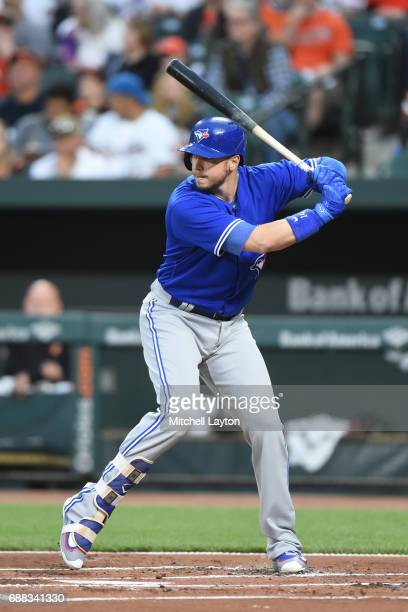 Justin Smoak of the Toronto Blue Jays prepares for a pitch during a baseball game against the Baltimore Orioles at Oriole Park at Camden Yards on May...
