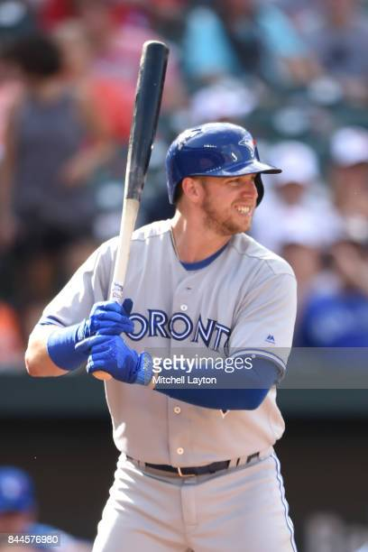 Justin Smoak of the Toronto Blue Jays prepares for pitch during a baseball game against the Baltimore Orioles at Oriole Park at Camden Yards on...
