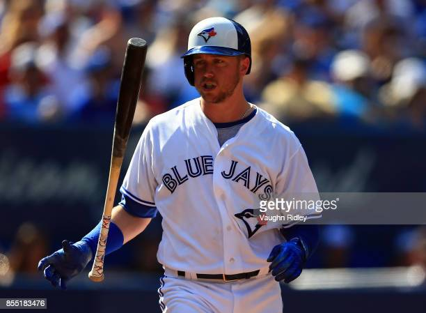 Justin Smoak of the Toronto Blue Jays reacts after a strike during a MLB game against the New York Yankees at Rogers Centre on September 24 2017 in...