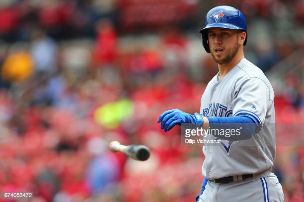 Justin Smoak of the Toronto Blue Jays reacts after striking out against the St Louis Cardinals in the first inning at Busch Stadium on April 27 2017...