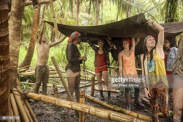 Justin Starrett Michaela Bradshaw Mari Takahashi Jessica Figueroa Michelle Schubert and the rest of the tribe try to stay dry on SURVIVOR Millennials...