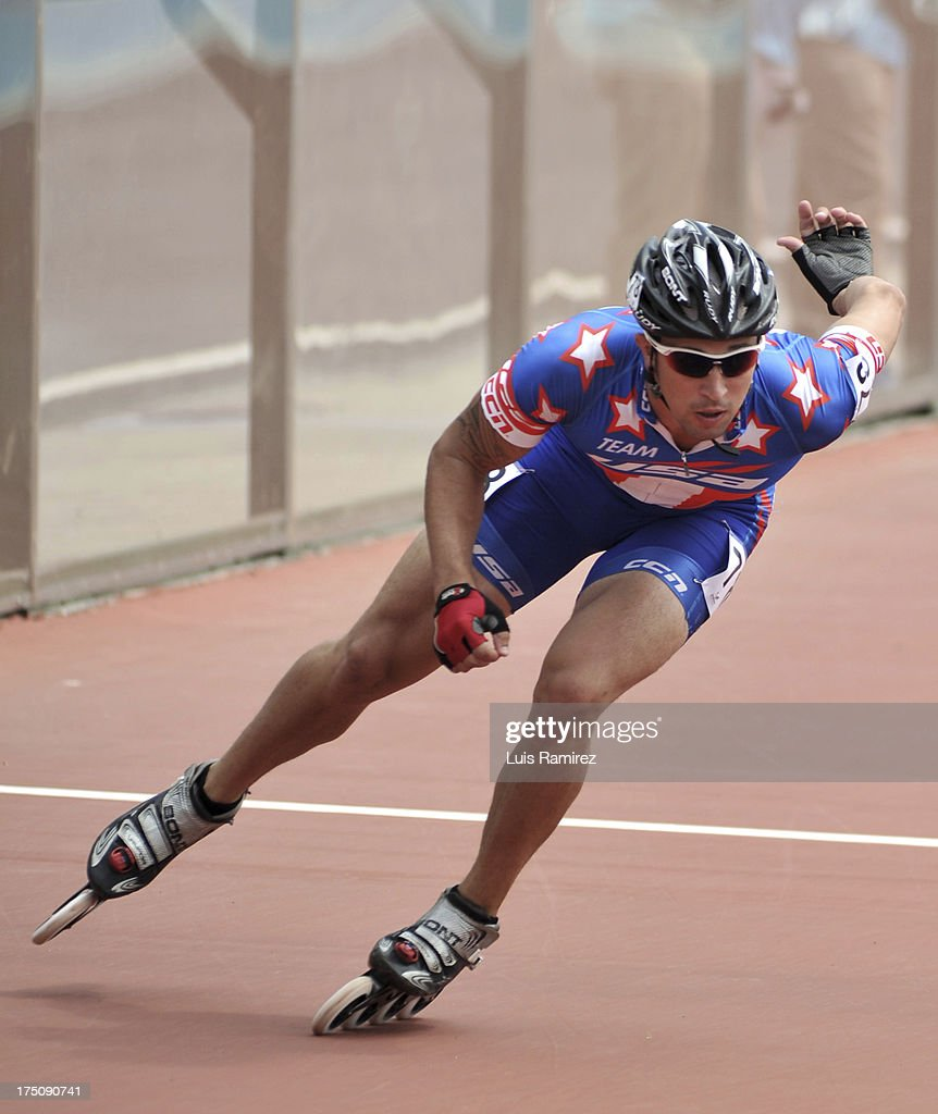 Justin Stelly from United States during a competition in the 300 meters individual time in Track Speed Roller Skating in the IX World Games Cali 2013 on July 31, 2013 in Cali, Colombia.