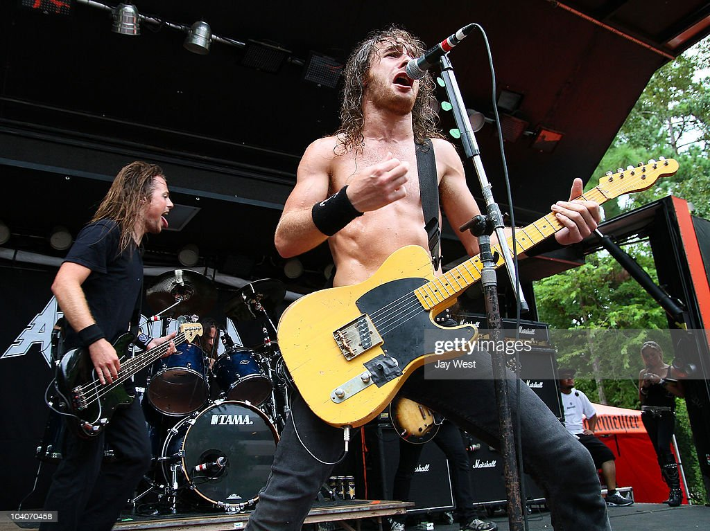 Justin Street and Joel O'Keeffe of Airbourne perfprm at the Uproar Festival at The Cynthia Woods Mitchel Pavilion on September 12, 2010 in Houston, Texas.