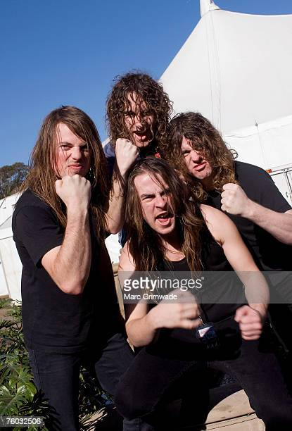 Justin Street Joel O'Keefe David Roads and Ryan O'Keefe from Airbourne backstage at Splendour in the Grass festival Byron Bay Sunday August 5th...
